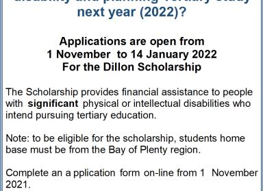 Dillion Scholarship opens next month!